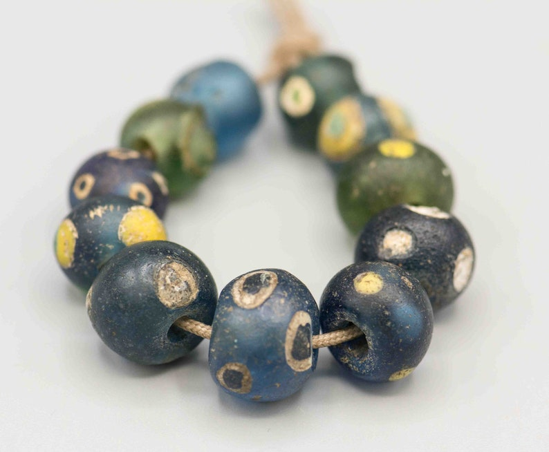 Ancient 10th-13thC Roman Glass Eye African Beads 11 Beads 9-13mm 4 Strand