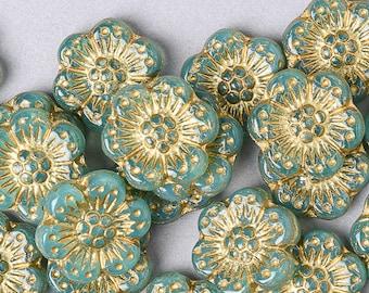 10 Czech Aqua Opal Anemone Flower Glass Beads. Daisy Czech Beads. CZ-73