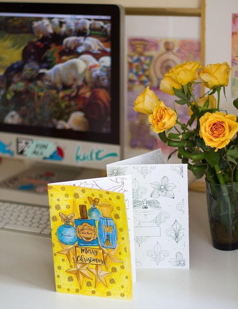 Printable Perfume-Themed Cards  Custom message & Holiday image 0