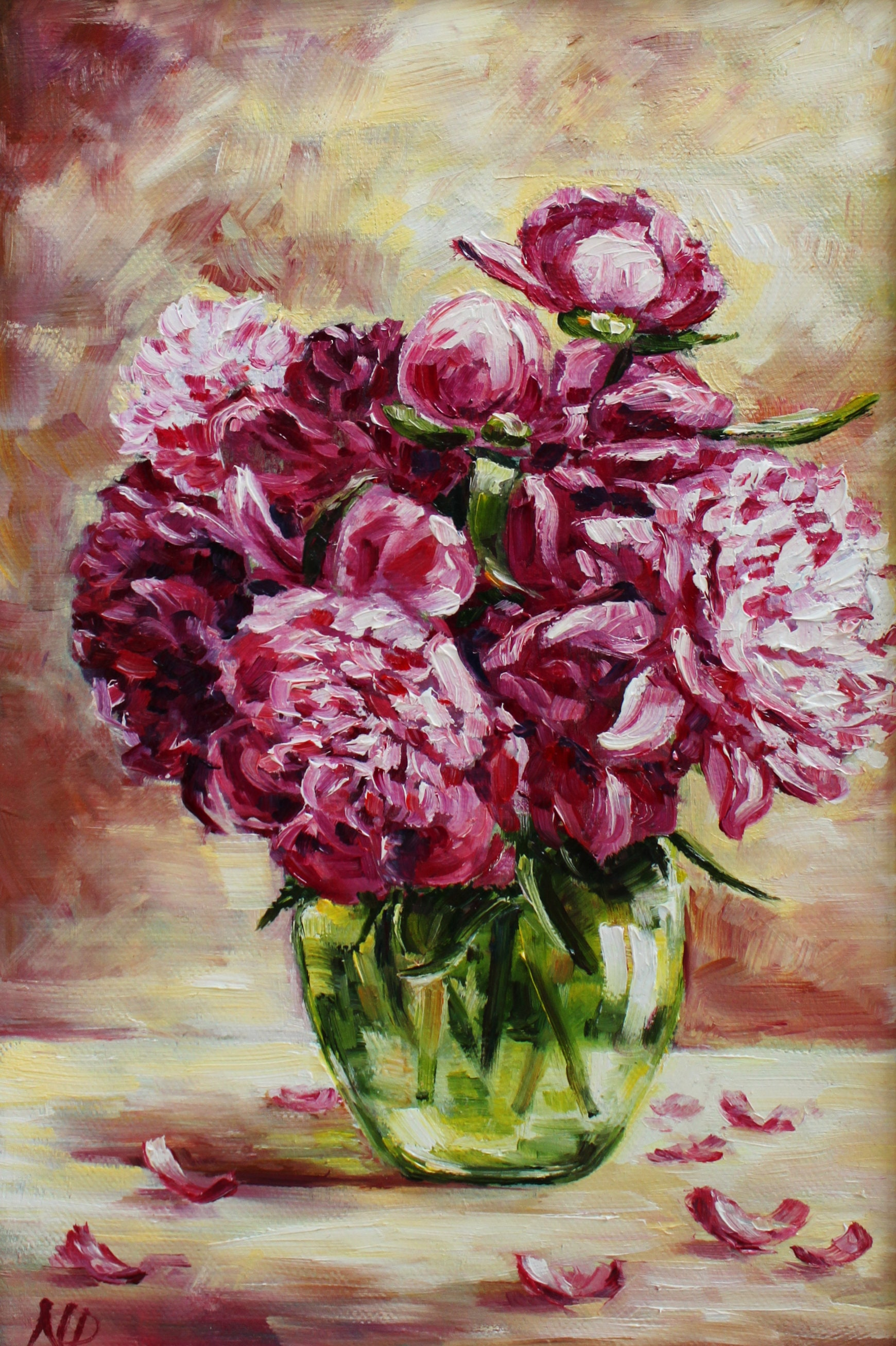 Pfingstrosen Malerei Blume Stillleben gerahmt Gemälde | Etsy