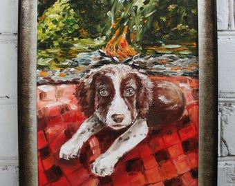 Dog Painting Oil Painting Dog Art Animal Painting Framed Art Pet Portrait Canvas Art Framed Painting Autumn Oil Original