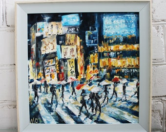 Tokyo Painting Oil Cityscape Tokyo Canvas Framed Art Original Art Oil Painting Oil Original Canvas Art Tokyo Art Framed Painting