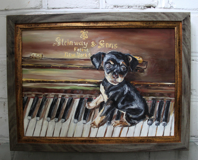 Hund Welpe Ölgemälde Gemälde Malerei Original Öl Hund Leinwand | Etsy