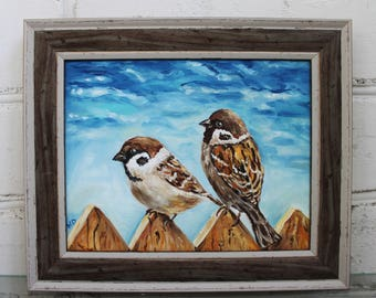Bird Painting Framed Painting Sparrow Painting Bird Oil Painting Canvas Art Framed Art Original Oil Bird Art