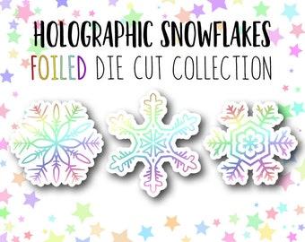 FOILED Snowflake DIE CUTS - Traveler's Notebook Scrapbook Die Cut Planner Chanukah Die Cut Winter Die Cut Holographic Die Cut