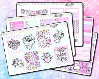 Luna Cupid - Vertical Planner Stickers Erin Condren Life Planner ECLP Valentine's Day Stickers Girl Stickers Doodle Sticker Kit