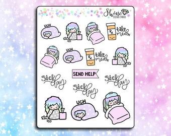 Luna Sick Day- Planner Stickers Erin Condren Life Planner Character Girl Stickers Travelers Notebook