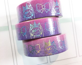 Luna Unicorn and Bows Foiled Washi Tape - Pastel Pink Lilac Ombre Traveler's Notebook Erin Condren Happy Planner