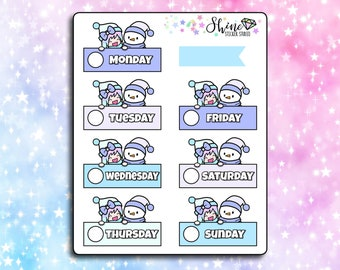 Luna Winter Date Covers - Planner Stickers Erin Condren Life Planner Character Girl Stickers Travelers Notebook