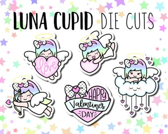 Cupid Luna DIE CUTS - Traveler's Notebook Scrapbook Heart Love Die Cut Planner Kawaii Character Doodle