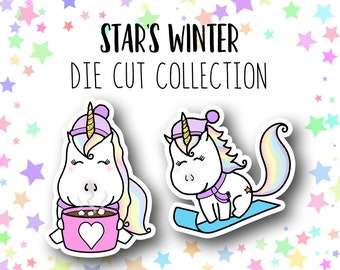 Star's Winter DIE CUTS - Traveler's Notebook Scrapbook Winter Die Cut Planner Kawaii Character Doodle