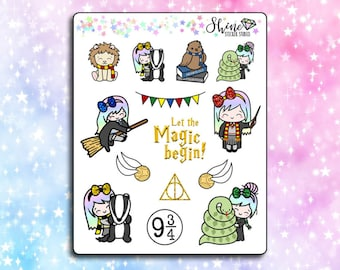 Luna Wizard- Planner Stickers Erin Condren Life Planner Character Girl Stickers Travelers Notebook