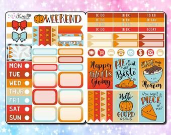 Thanksgiving Kit - B6 Size Traveler's Notebook Stickers - Planner Stickers Erin Condren Life Planner ECLP Stickers Thanksgiving Day Kit
