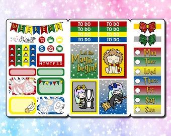 Luna Wizard - Pocket Size Traveler's Notebook Stickers - Planner Erin Condren Life Planner ECLP Fall Magic Doodle Happy Planner