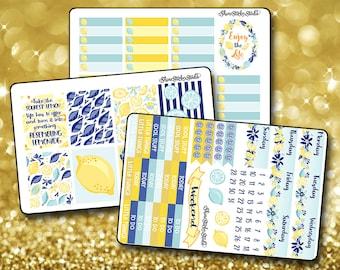 Lovely Lemon Twist - Vertical Planner Stickers Erin Condren Life Planner  ECLP Cheery Lemon Stickers Citrus Stickers Summer Stickers