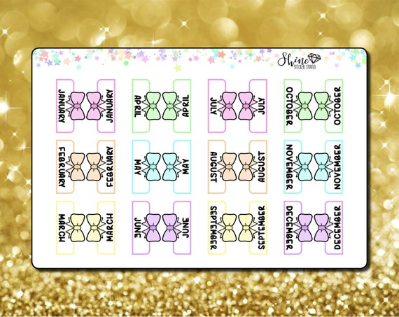 monthly bow planner tab stickers planner stickers erin etsy