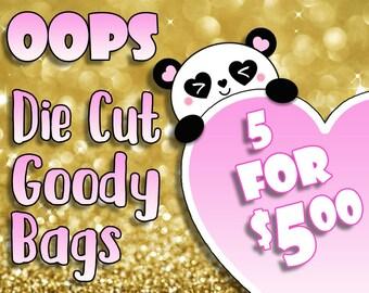 Oops Die Cuts Pack Traveler's Notebook Scrapbook Die Cut Planner Kawaii Character Doodle Die Cut Grab Bag Misfit Grab Bag Goody Bag Oops Bag