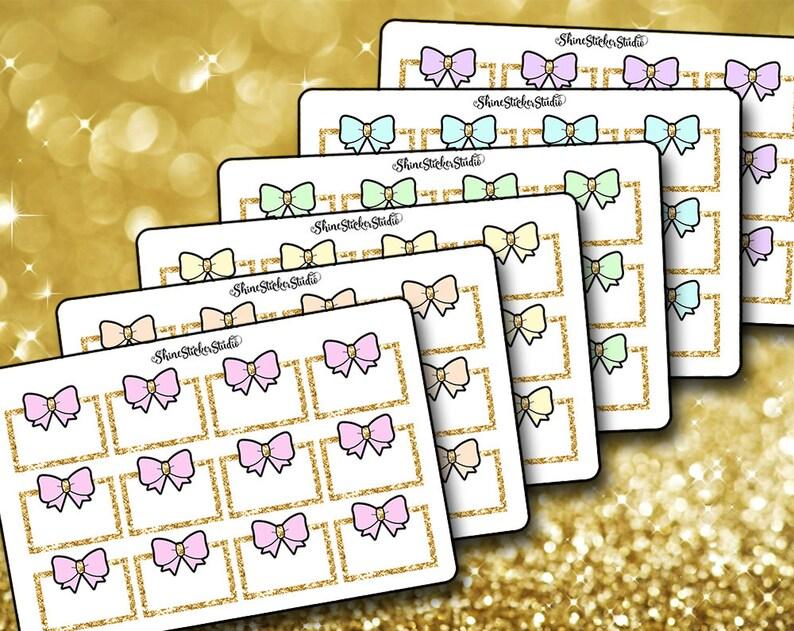 BUNDLE!--Cute Bow Box Stickers Planner Stickers Erin Condren Life Planner Glitter Bow Halfbox Box Stickers ECLP Stickers Happy Planner