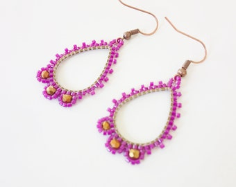 Dangle drop earrings ultra violet embroidered beads, Stud Earrings minimalist woman, wife birthday gift or mother mother's day