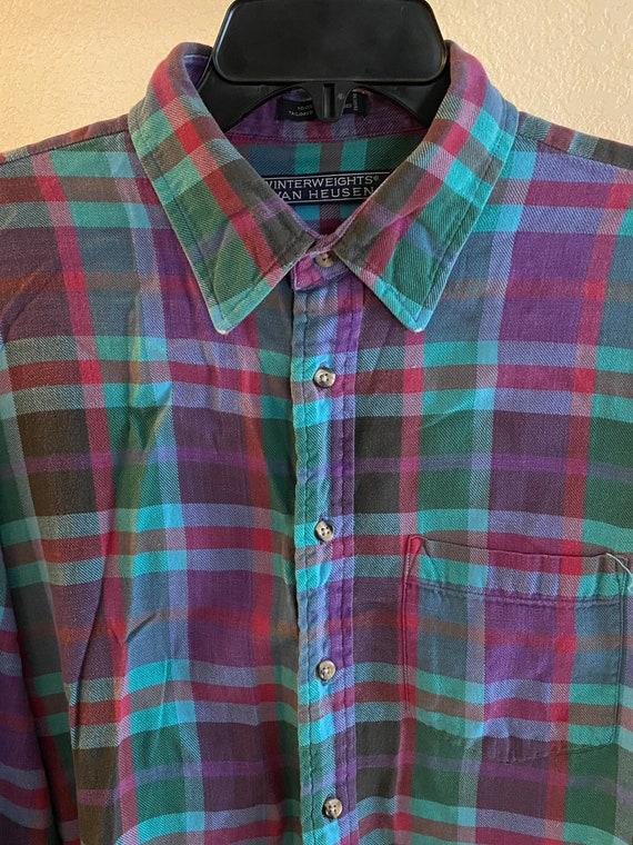 Vintage Van Heusen Flannel Shirt Purple Soft