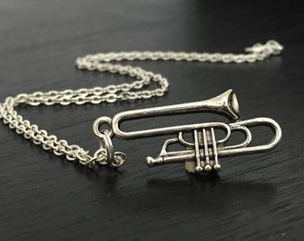 silver trumpet necklace, charm necklace, personalize jewelry, trumpet player, musical instrument,orquestra music jewelry, band student gift