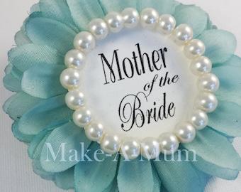tiffy blue bridal shower corsage pinbridal shower favors wedding gift mother of the bride bride badgeteam bridetiffpearl motb