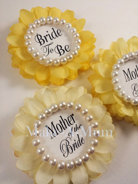3 yellow bridal shower corsage bridal shower favors hand dyed wrist or pin wedding gift glass pearlssunshine trio pearlbtb motbmotg