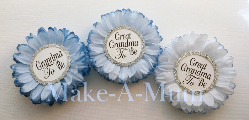 Baby Shower Decor HAND-DYED Mommy To be Pin PERSONALIZED Baby Shower Favors Winter Wonderland  Blue  Boy  Baby Shower Corsage set of 3