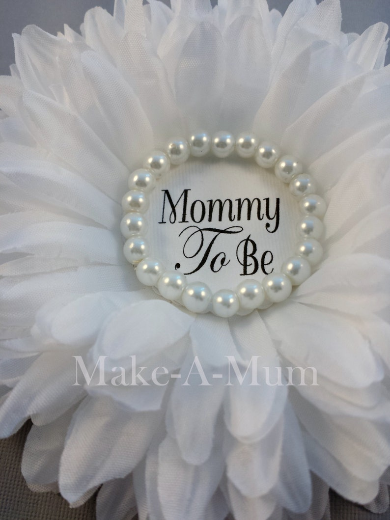Large Gender Neutral Peony White Mommy to be Pin baby shower favors Baby Shower corsage Announcement, Grandma to Be Pin Baby reveal