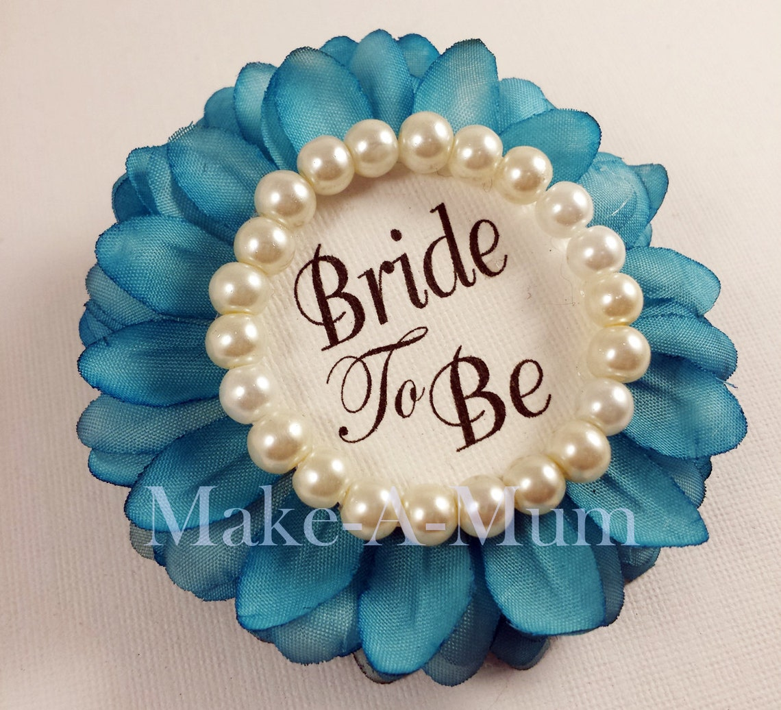 teal wedding party gift bridal shower corsage personalized