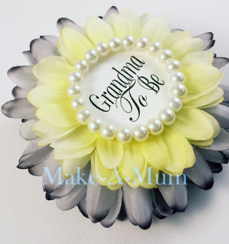 Yellow and Grey Baby Shower corsage YOUR COLORS dUETTEgREYyELLOWpEARL,gtb baby shower favor Grandma To Be Pin