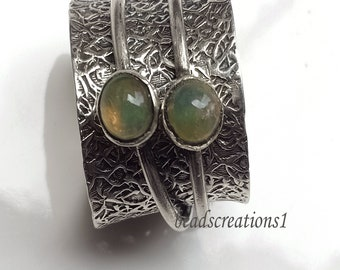 Ethiopian Opal Silver Spinner Ring,Thumb Ring,Tow Stone Ring Meditation Ring,Spinning Ring,Textured Ring,Handmade Opal Ring,Opal Jewelry
