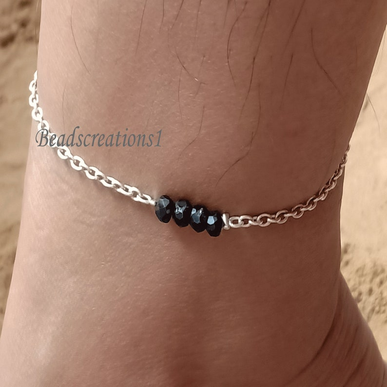 Black Spinel Anklet 925 Sterling Silver Anklet Anklet Chain Anklet Bracelet Anklet Beads Bracelet Handmade Beads Anklet Jewelry Gift For Her