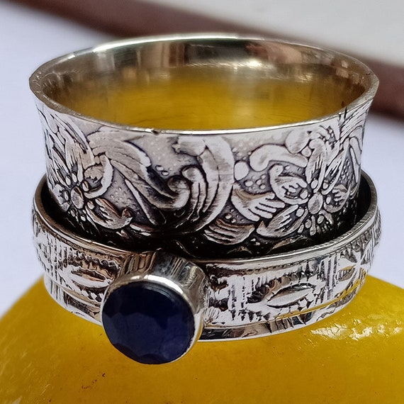 Blue Sapphire Gemstone Ring Silver Ring Silver Jewelry Handmade Ring Thumb Ring Spinner Ring Meditation Ring Fidget Ring Sapphire Jewelry