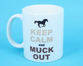 Funny Novelty Coffee Mug Keep Calm And Muck Out Horse Funny Mug Gift Tea Mug - Free Gift Box