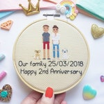 Custom Cross Stitch Family - Personalised Wedding Gift - Stitch Anniversary - Gift for Husband - Wife - Wedding Cross Stitch - Family Stitch