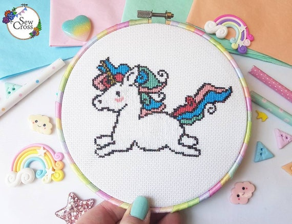 Rainbow unicorn cross-stitch kit from Sew Cross Handmade