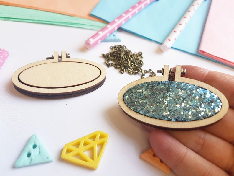 60mm x 31mm DIY Kit Cross Stitch Kits Embroidery Kits Tiny Wooden Hoop Embroidery Hoop Tiny Embroidery Hoop with Necklace