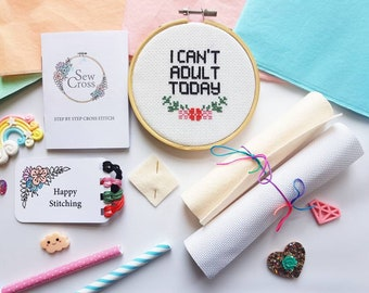 I Can't Adult Today Cross Stitch Kit - Cross Stitch Kit for Beginners - Cross Stitch Kit Modern - Cross Stitch Kit Funny -  Diy Kit - UK