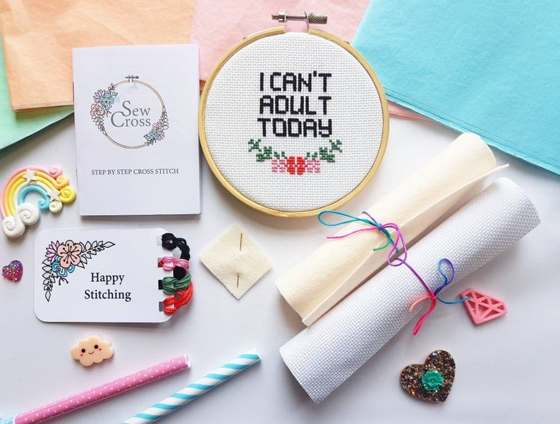 Funny Cross Stitch Kit  Embroidery Kit  Quote Cross Stitch  image 0
