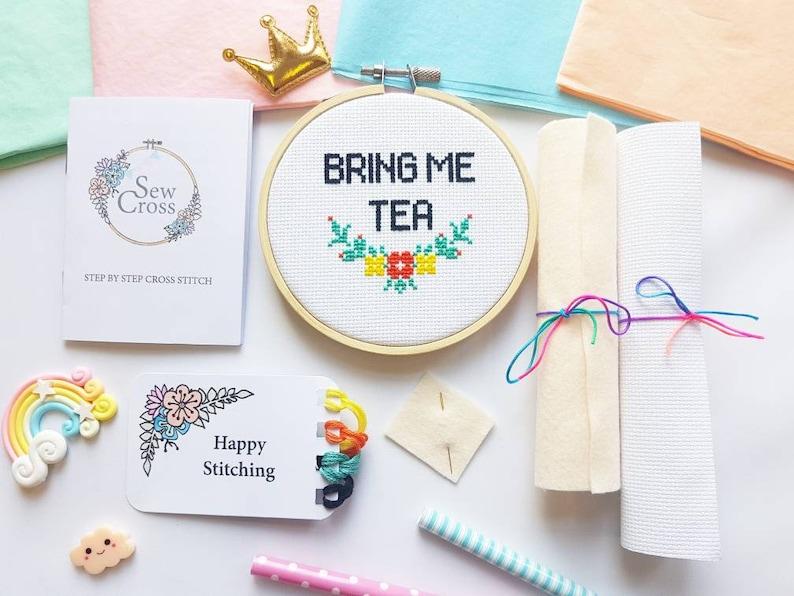 Bring Me Tea Cross Stitch Kit  Cross Stitch  Embroidery Kit image 0