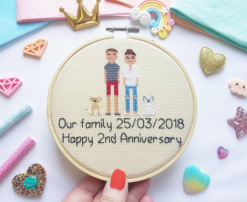 Custom Cross Stitch Family Portrait  Personalised Christmas image 0