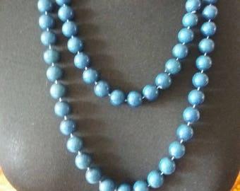 Vintage 1950s Double Strand Blue Necklace
