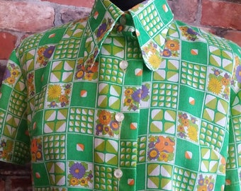 1970s Floral Green Top Size - UK 12