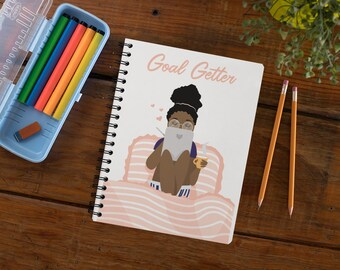 Goal Getter Black Girl Notebook; A5 Spiral Journal, College Ruled; Black Girl Magic Silver Bound Notebook; Afrocentric Gifts for Black Girl