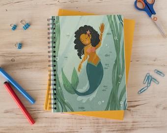 Black Mermaid Journal Notebook, Wide Ruled Afrocentric Mermaid, African American Black Princess Mermaid Notebook, Under the Sea Princess