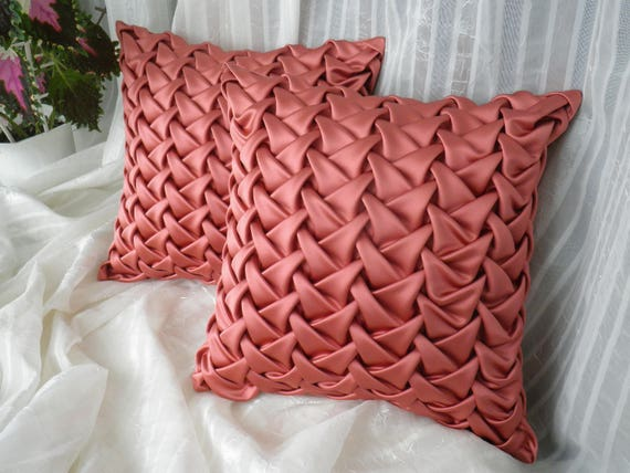 Pink Couch Pillow Canadian Smocking Cushion Cover Satin Throw Pillow Cover,  Accent Pillow, Gift For Mom, Hand Made Pillow, Textured Pillow