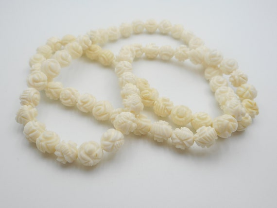 Carved Bone Cabbage Rose Necklace Antique Vintage Native Etsy