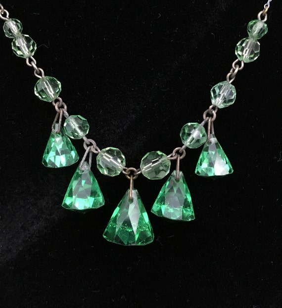 Antique Victorian Glass Drop Necklace Sterling Sil