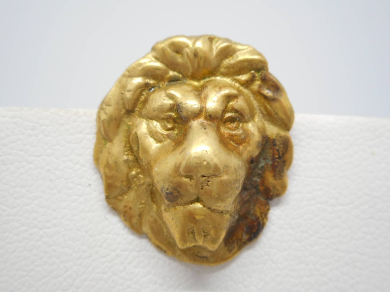 Antique Victorian Pin Brooch Lion Head High Relief Gold Filled NICE!